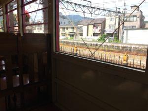 車椅子用スペース 嵯峨野トロッコ列車