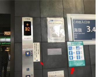 駅での優先表示の一例(東京メトロ)