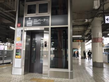 上野駅 新エレベーター(ホーム側)